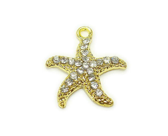 20x20mm Pack Of 2 Gold Metal Starfish Charm With Cz Stones
