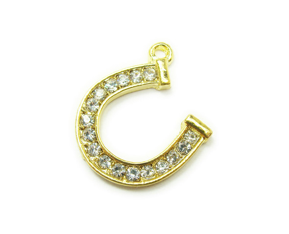 20x20mm Pack Of 2 Gold Metal Horseshoe Charm With Cz Stones