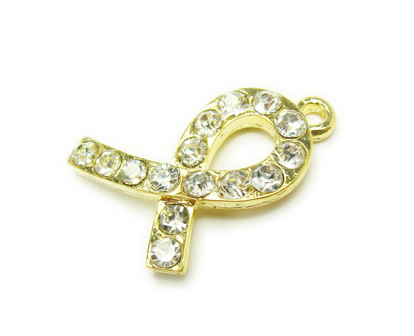 18x26mm Pack Of 2 Gold Metal Ribbon Charm With Cz Stones