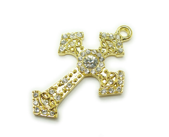 30x40mm Pack Of 2 Gold Metal Large Cross Charm With Cz Stones