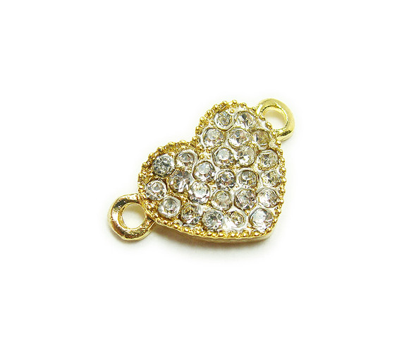11x18mm  pack of 4 Gold metal and CZ stone heart connector