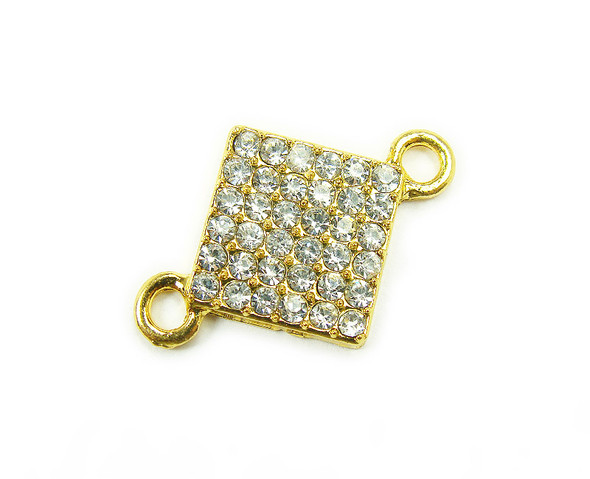 12x12mm  pack of 4 Gold metal and CZ stone square connector