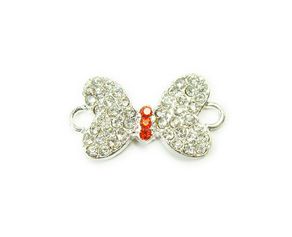 14x20mm  pack of 4 Silver metal and CZ stone butterfly connector