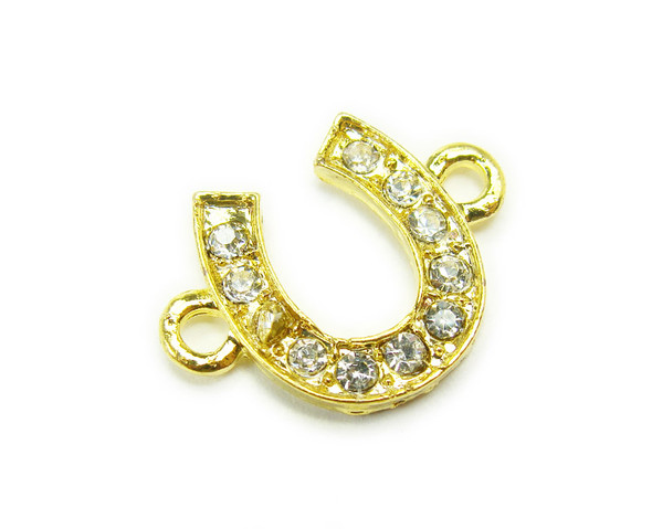 12x14mm  pack of 4  Gold metal and CZ stone horseshoe connector