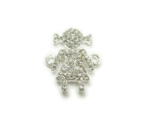14x22mm  pack of 4 Silver metal and CZ stone girl with pigtails connector