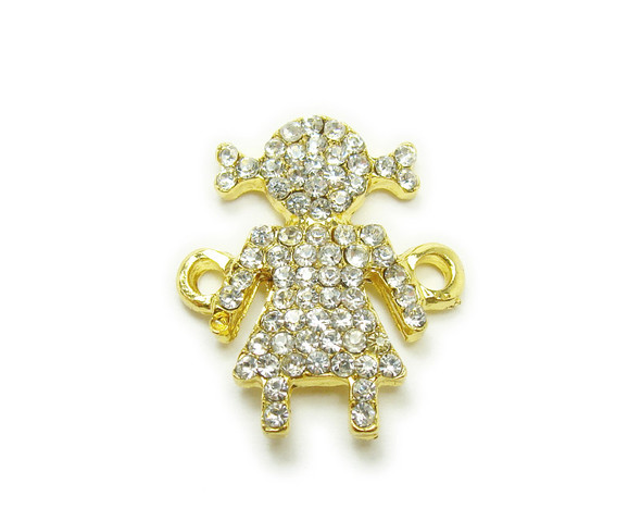 14x22mm  pack of 4 Gold metal and CZ stone girl with pigtails connector