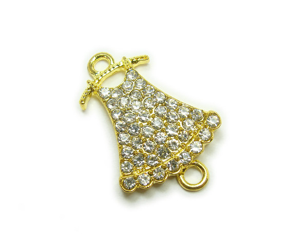 18x22mm  pack of 2 Gold metal and CZ stone dress on a hanger connector (18x22mm, pack of 20