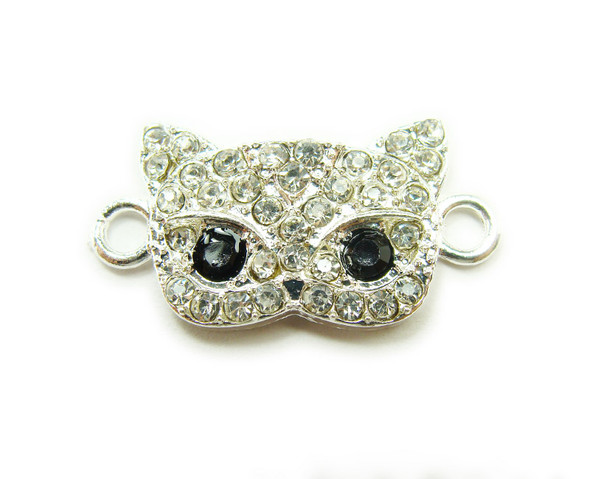 13x20mm  pack of 4 Silver metal and CZ stone masquerade mask connector