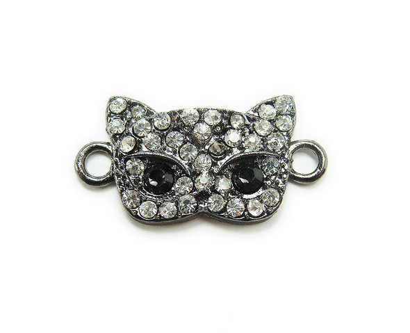 13x20mm  pack of 4 Black metal and CZ stone masquerade mask connector
