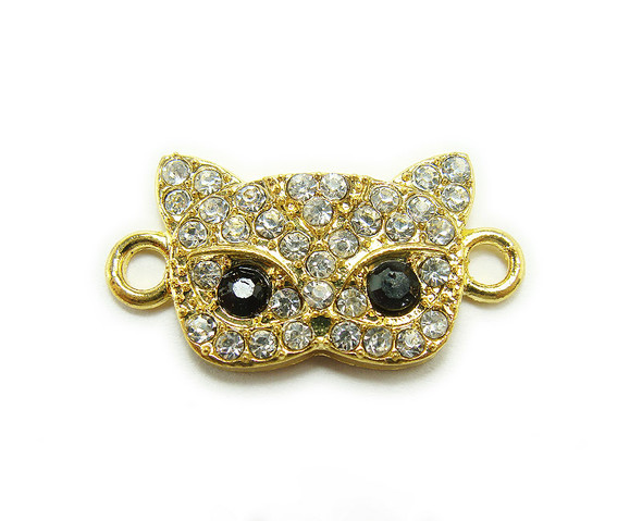 13x20mm pack of 4 Gold metal and CZ stone masquerade mask connector