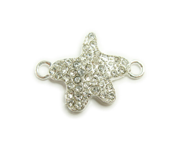 18x18mm pack of 4 Silver metal and CZ stone star connector