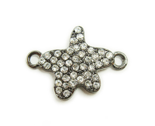 18x18mm  pack of 4 Black metal and CZ stone star connector