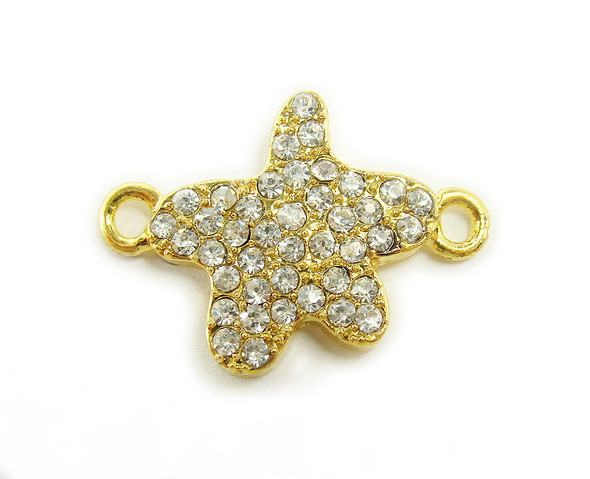 18x18mm  pack of 4 Gold metal and CZ stone star connector