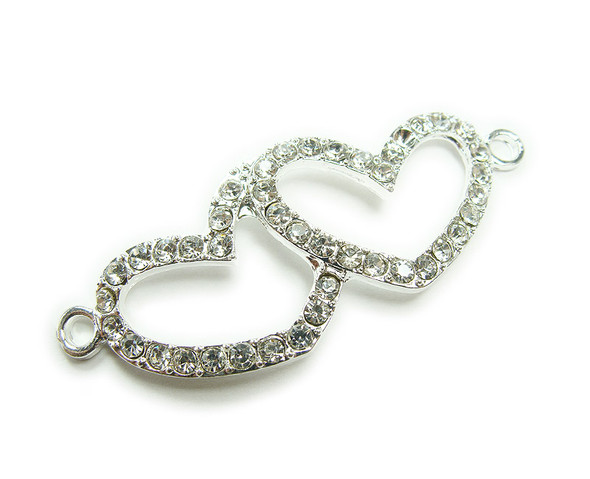 18x45mm  pack of 4 Silver metal and CZ stone double heart connector