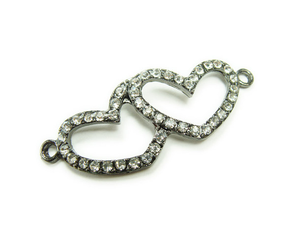 18x45mm  pack of 4 Black metal and CZ stone double heart connector