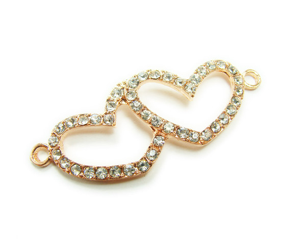 18x45mm  pack of 4 Rose gold metal and CZ stone double heart connector
