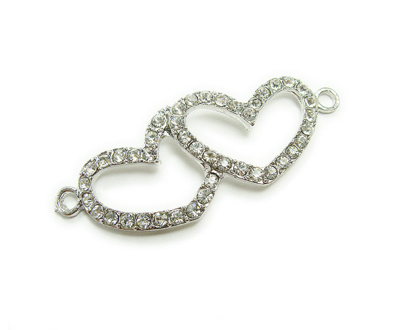 18x45mm  pack of 4 Platinum silver metal and CZ stone double heart connector