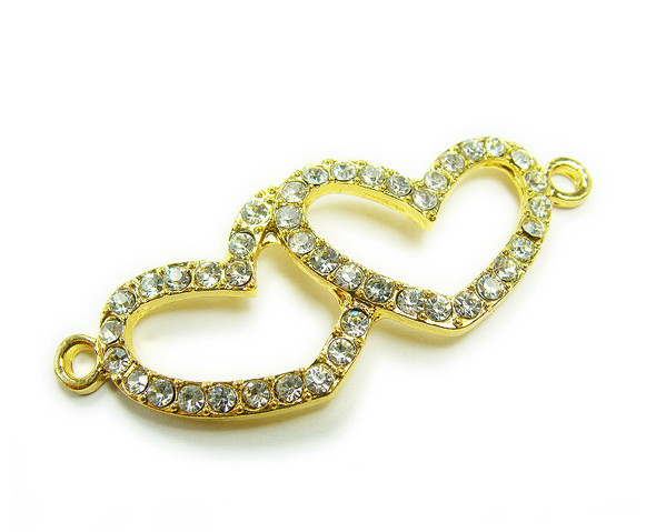 18x45mm  pack of 4 Yellow gold metal and CZ stone double heart connector