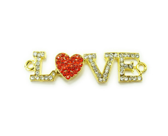 "13x45mm  pack of 4 Gold metal and CZ stone ""Love"" connector with red heart"
