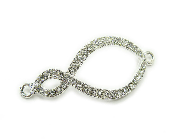 18x34mm  pack of 4 Silver metal and CZ stone infinity connector