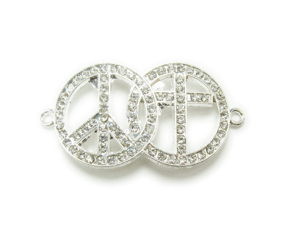 20x35mm   pack of 3 Silver metal and CZ stone peace and cross connector