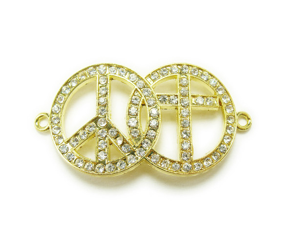20x35mm  pack of 3 Gold metal and CZ stone peace and cross connector
