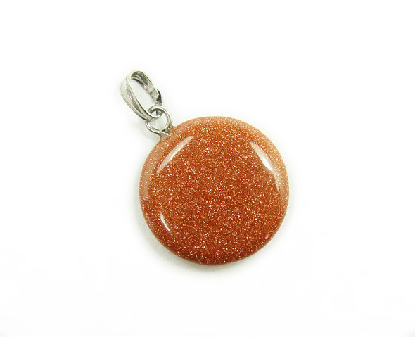 18mm  pack of 5 Brown goldstone round coin pendants