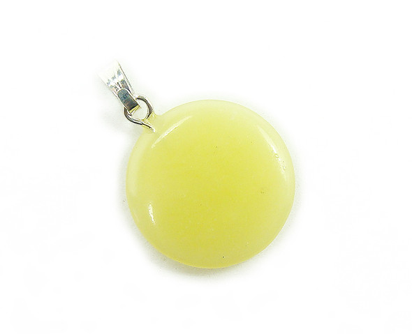 18mm Pack Of 5 Olive Jade Round Coin Pendants
