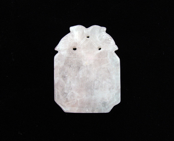 32x42mm Rose Quartz Lucky Chinese Stone Carved Pendant