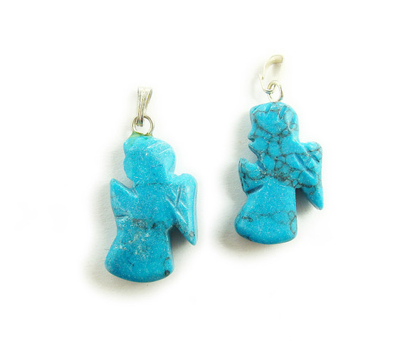 14x22mm  pack of 10 Turquoise howlite praying angels gemstone pendant