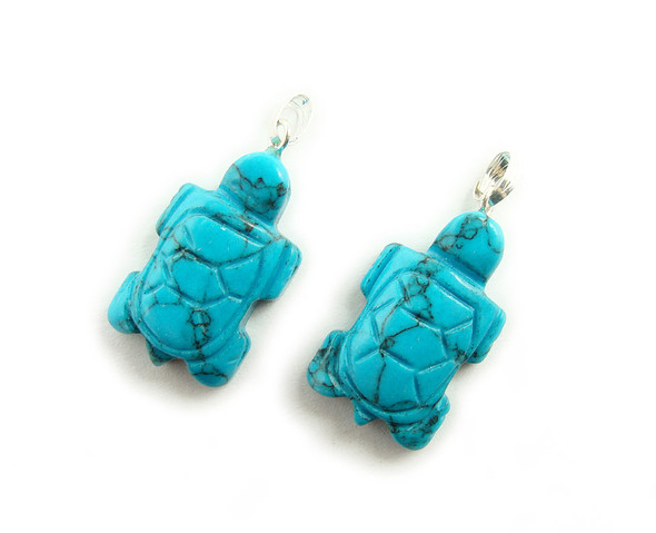 14x22mm  pack of 5 Turquoise howlite turtle gemstone pendant