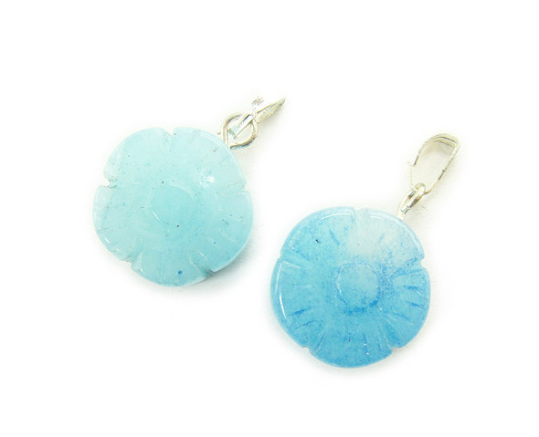14mm  pack of 5 Sky blue quartz thick flower coin gemstone pendant