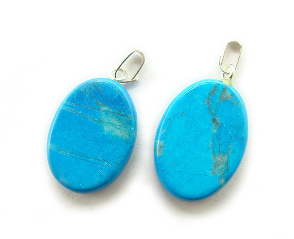 15x20mm  pack of 5 Turquoise howlite oval gemstone pendant