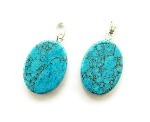 15x20mm  pack of 5 Turquoise howlite matrix oval gemstone pendant