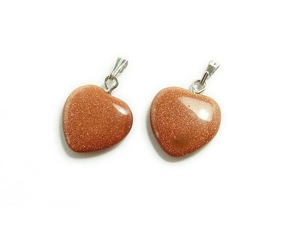 20x20mm  pack of 5 Brown goldstone heart gemstone pendant