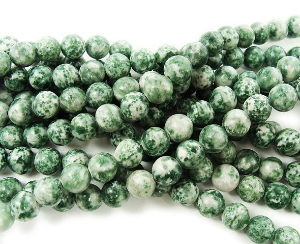 6mm Green Spot Jasper Round Beads