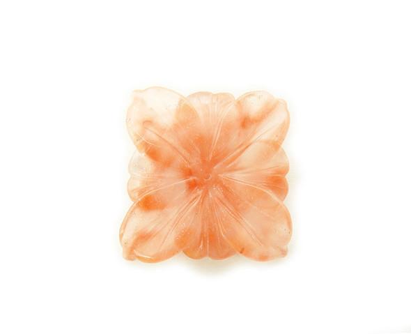 40x40mm Cherry quartz square center drilled flower pendant