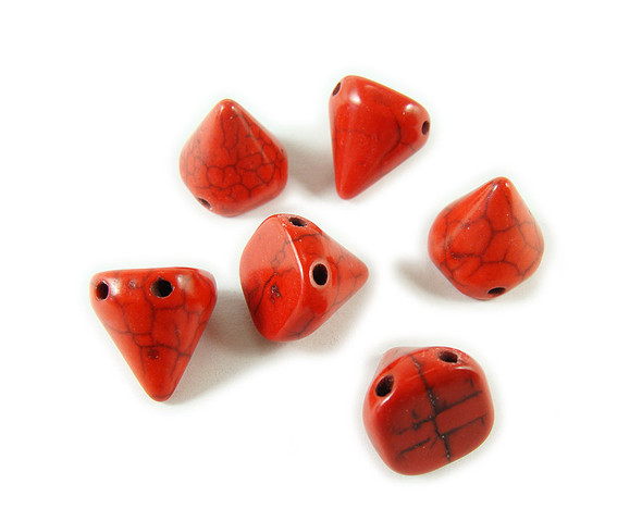 14x15mm Red Howlite Cone Double Drilled Beads