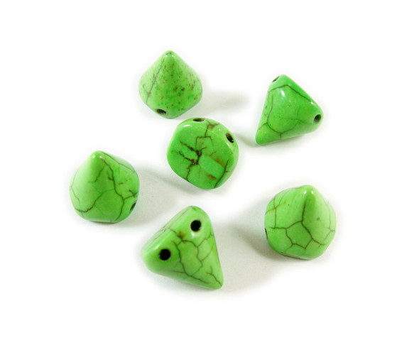 14x15mm Green howlite cone double drilled beads