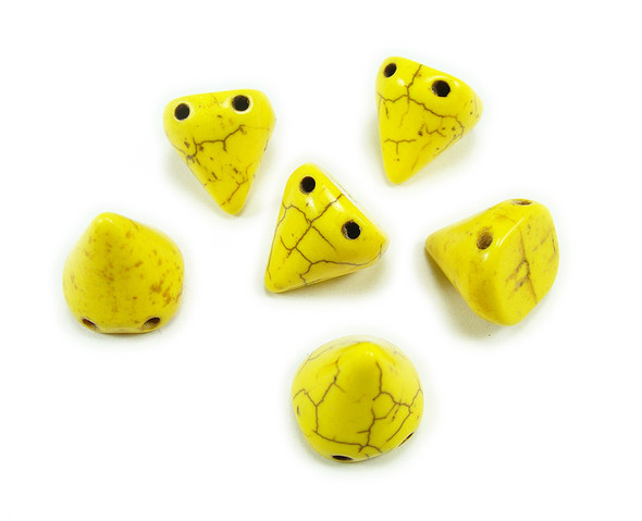14x15mm Yellow Howlite Cone Double Drilled Beads