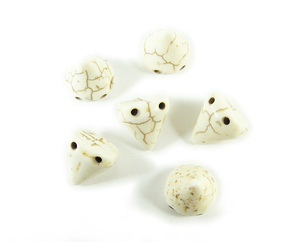 10x14mm White howlite cone double drilled beads