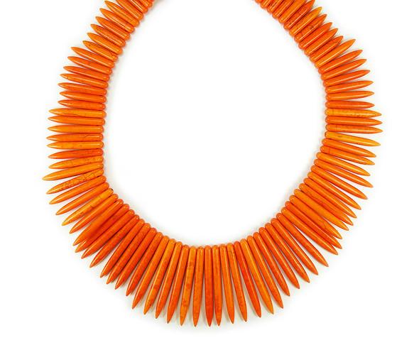 20-50x5mm 18 Inch Strand Orange Howlite Graduated Sticks