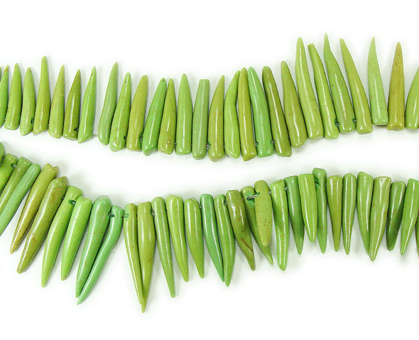 5x20mm  16 inch strand Green howlite graduated sticks