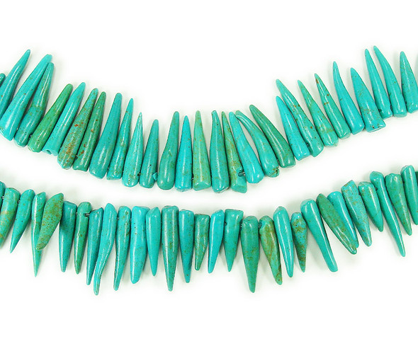 5x20mm 16 Inch Strand Turquoise Howlite Graduated Sticks