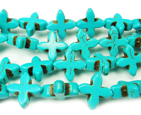 14x15mm 15.5 Inches Turquoise Howlite Cross Beads