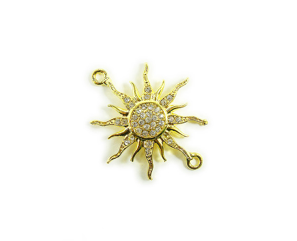 38x38mm   pack of 3 Gold metal and CZ stone starburst sun connector