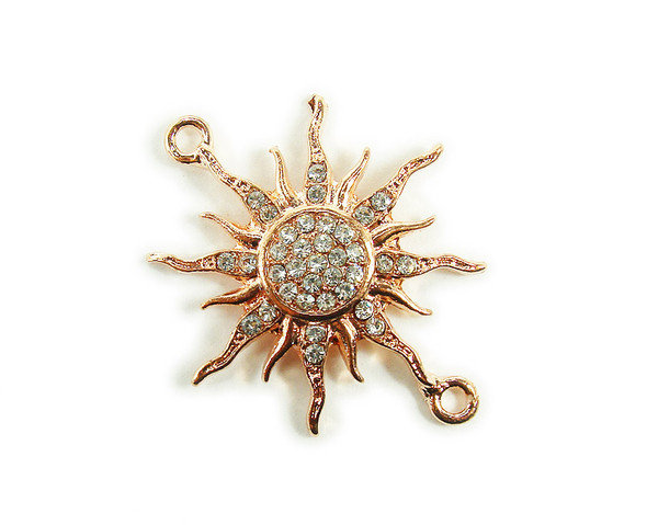 38x38mm   pack of 3 Rose gold metal and CZ stone starburst sun connector