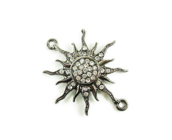 38x38mm  pack of 3 Black metal and CZ stone starburst sun connector