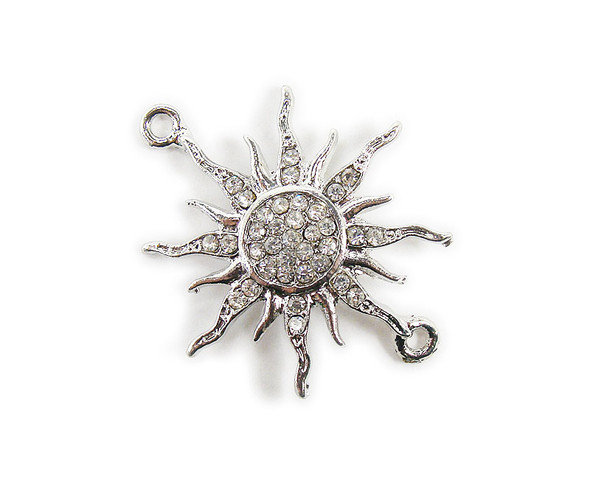 38x38mm  pack of 3 Platinum metal and CZ stone starburst sun connector
