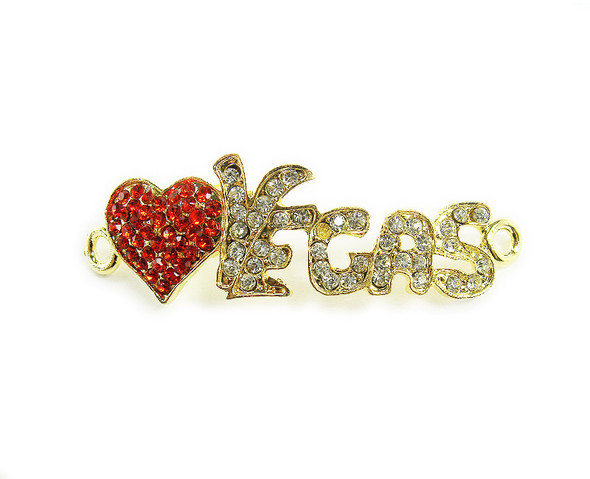 15x40mm  pack of 4 Gold metal and CZ stone vegas heart connector